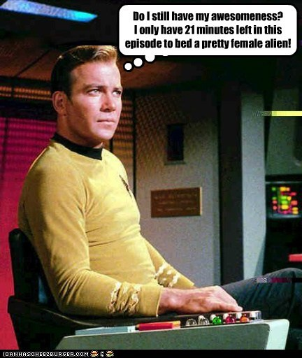 alien,awesomeness,bed,Captain Kirk,female,insecure,Shatnerday,Star Trek,William Shatner