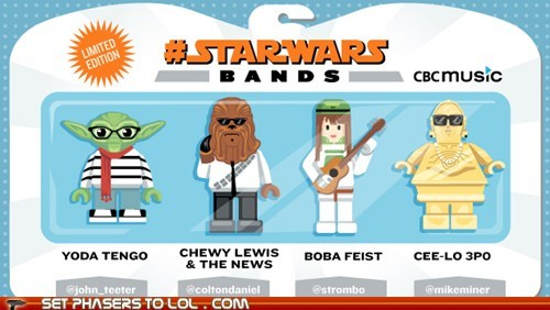 bands boba fett c3p0 cee-lo green Chewie feist huey lewis puns star wars wordplay yoda - 6185512960