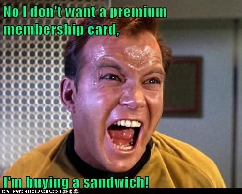 annoyed,Captain Kirk,card,membership,sandwich,Shatnerday,shopping grocery store,Star Trek,William Shatner,yelling