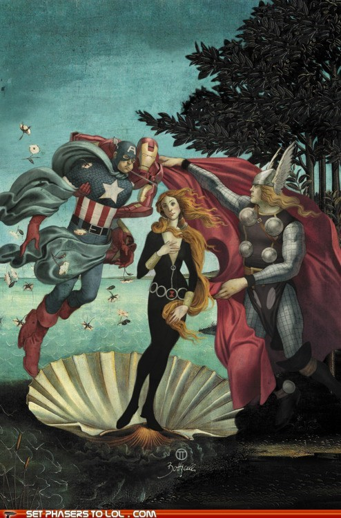 art,avengers,Black Widow,Fan Art,iron man,The Avengers,the birth of venus