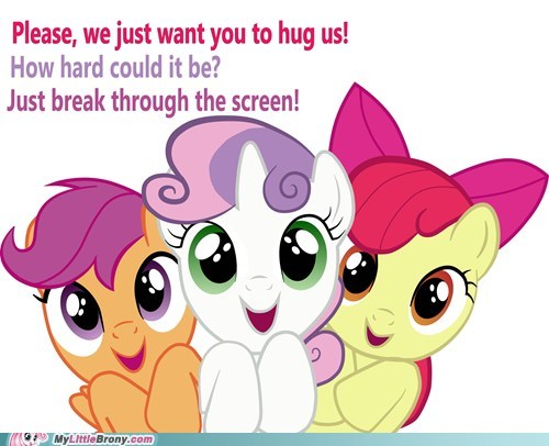 cute cutie mark crusaders hug ponies - 6185804800