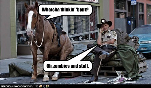 Andrew Lincoln horse relaxing Rick Grimes stuff The Walking Dead whatcha thinkin about zombie - 6186432000
