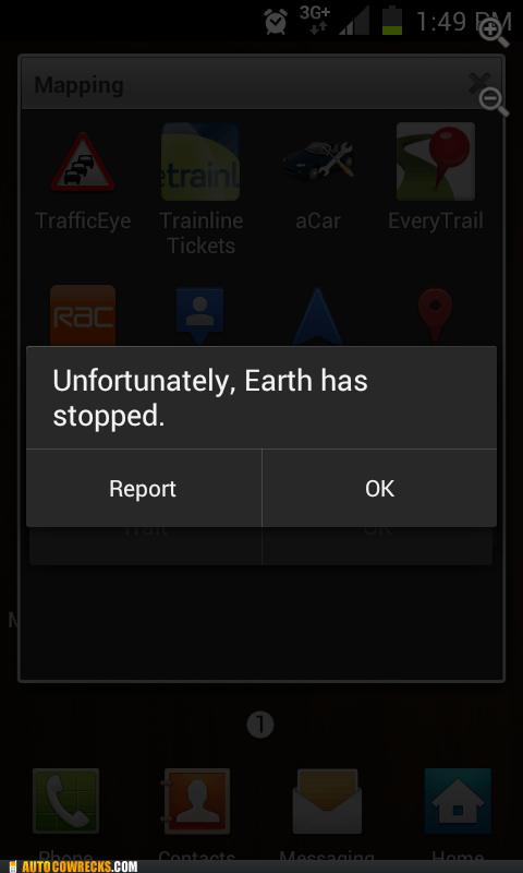 Earth has stopped error message report warnings - 6187063040