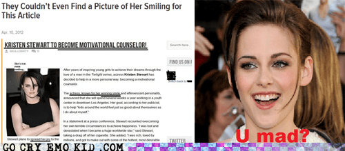 kristen stewart Reframe smiling u mad weird kid - 6187431424
