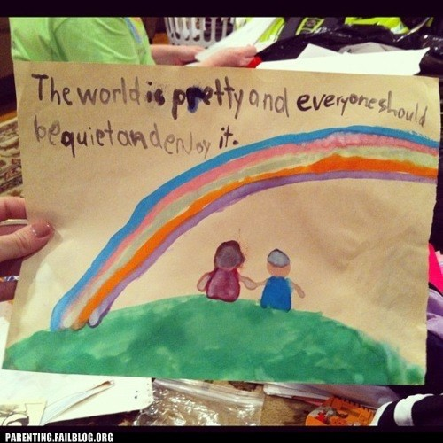 childrens-artwork g rated Hall of Fame holding hands painting Parenting FAILS rainbow - 6187728128