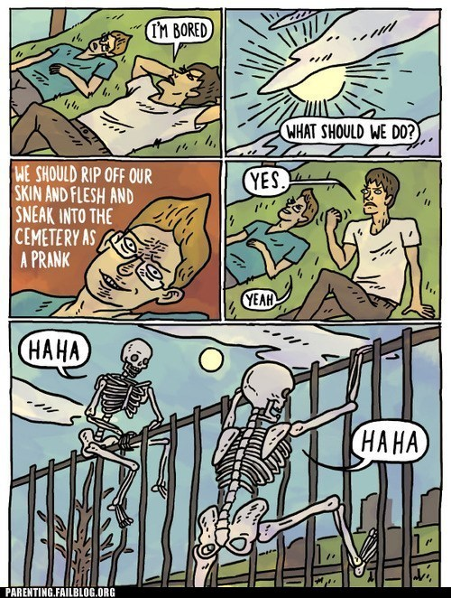 bored,cemetary,comic,skeletons