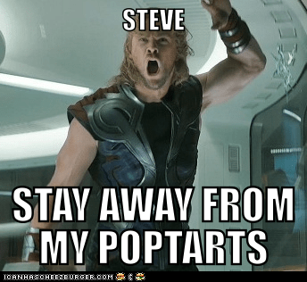 angry,avengers,best of the week,chris hemsworth,poptarts,stay away,steve rogers,trapped