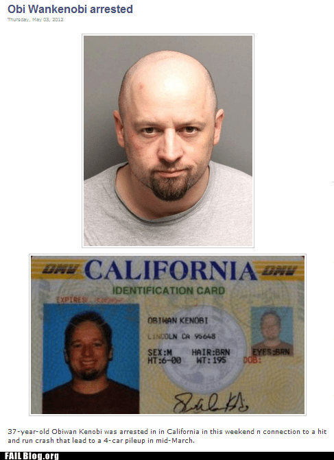 california,drivers licence,obi-wan kenobi,Probably bad News,star wars