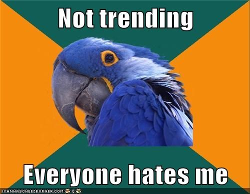 hate,Paranoid Parrot,rejection,trending