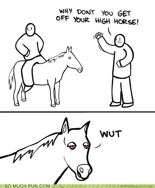 double meaning,high,high horse,horse,literalism