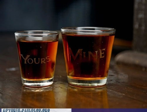 his and hers shot glasses yours and mine - 6188646144