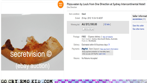 eBay Auction,fan girls,one direction,pizza,weird kid