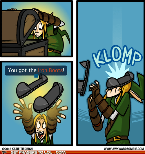 head,hurt,iron boots,item,legend of zelda,link,Music
