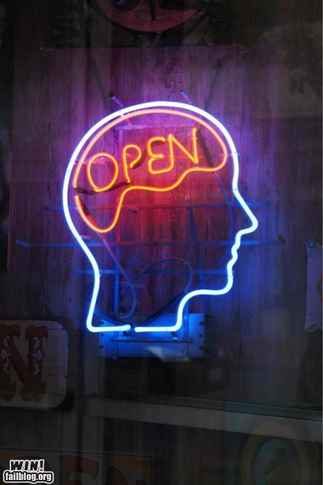 brain clever design neon open sign - 6188995328