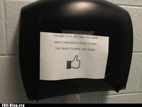 facebook likes,public restroom,sign,toilet