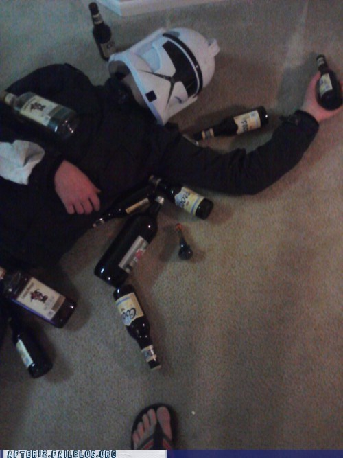 beers,blackout,passed out,star wars,stormtrooper