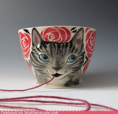 bowl,cat,ceramic,hole,knitting,mouth,yarn