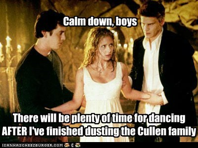 There will be plenty of time for dancing AFTER I've finished dusting the Cullen family Calm down, boys