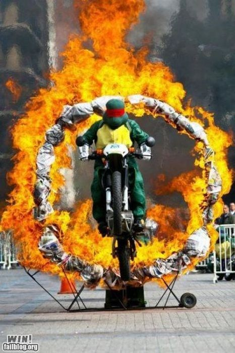 fire motorcycle stunt TMNT what