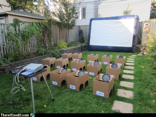backyard cardboard drive in drive-in movie Hall of Fame kids movie theater theater