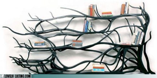 bookcase vines books branches shelves tree