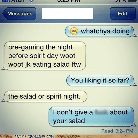 salad,sms,zero cares given