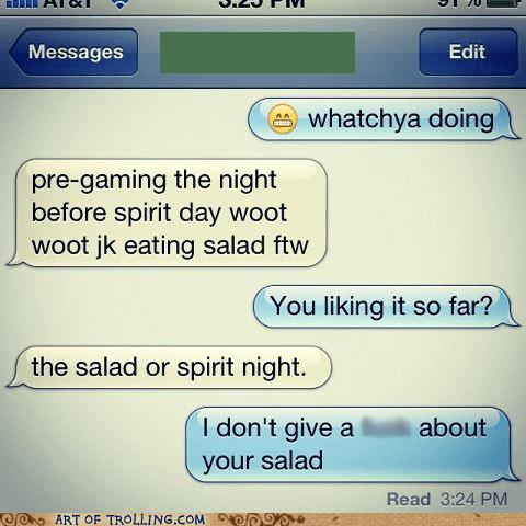 salad sms zero cares given - 6189911552