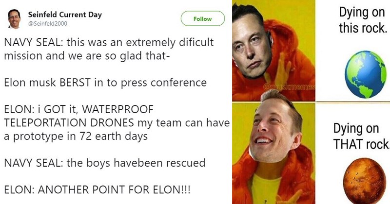 spacex billionaires thai soccer players trapped technology elon musk memes elon musk musky memes thailand space x tesla memes the boring company grimes mission to mars - 6190341