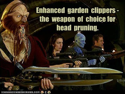 anthony simcoe,ben browder,farscape,garden clippers,head,hedge,ka-dargo,Luxan,weapon