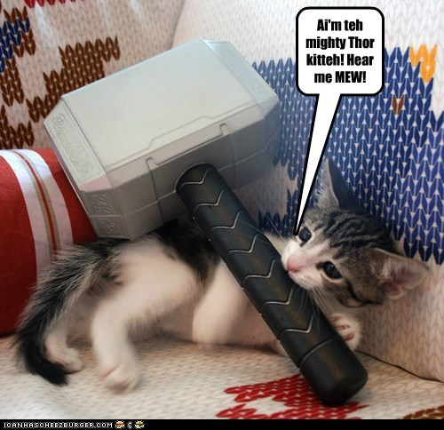 Ai'm teh mighty Thor kitteh! Hear me MEW!