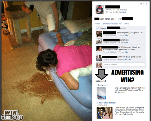 bleach,clorox,facebook,facebook ads,intoxicated,puke,vomit