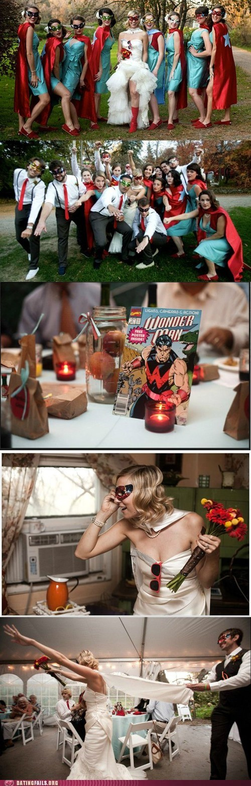coolest wedding ever,getting married,superheroes,weddings
