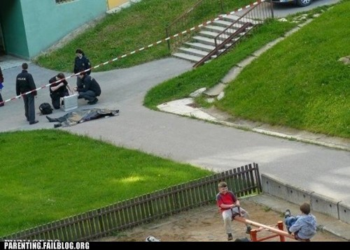 crime scene Parenting FAILS playground teeter totter