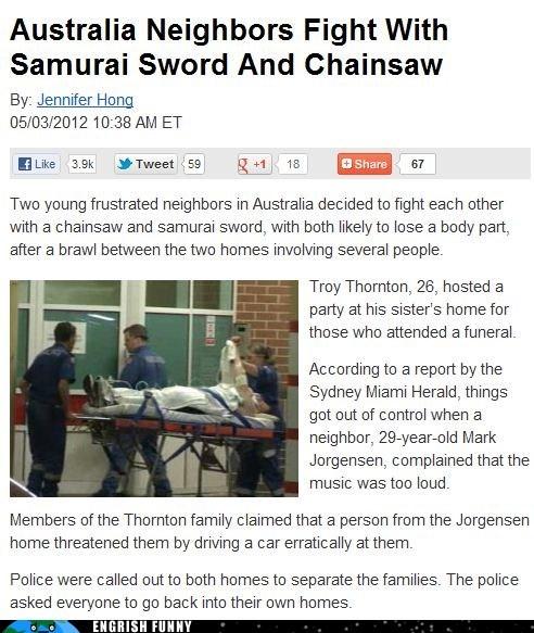 australia,chainsaw,samurai sword,sydney
