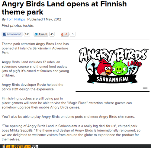 angry birds AutocoWrecks Finland g rated theme park - 6191818240