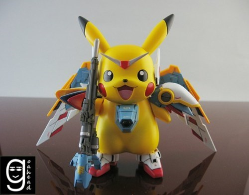 Fan Art,gundam,Japan,mashup,pikachu,pikachu wing edition,Pokémon,wtf