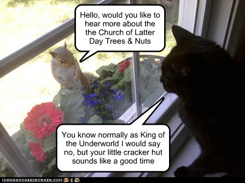 Hello, would you like to hear more about the the Church of Latter Day Trees & Nuts You know normally as King of the Underworld I would say no, but your little cracker hut sounds like a good time