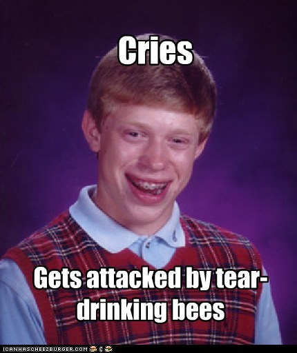 bad luck brian,bees,crying,Memes