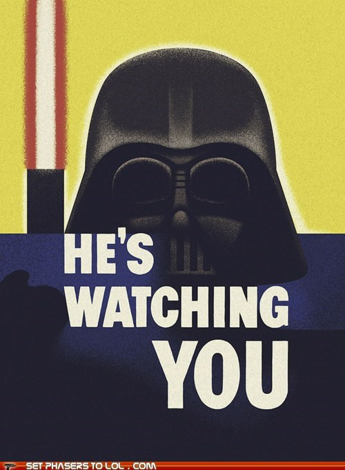1984 big brother darth vader lightsaber propaganda star wars watching you - 6192121856