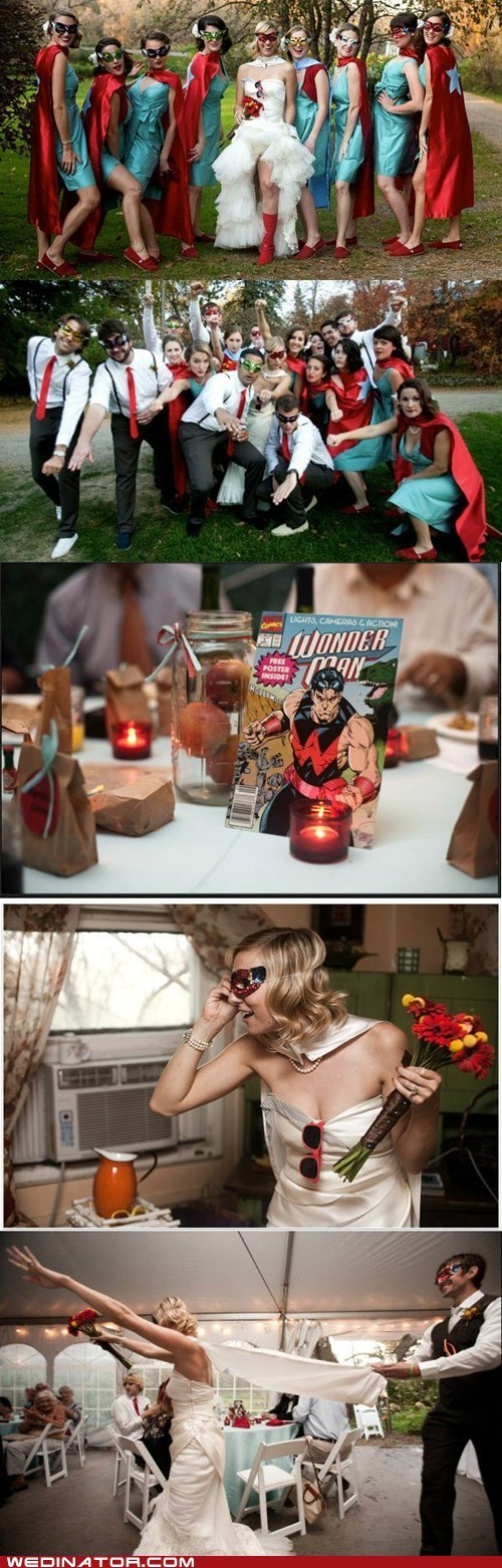 bride,comics,funny wedding photos,Hall of Fame,Party,superheroes