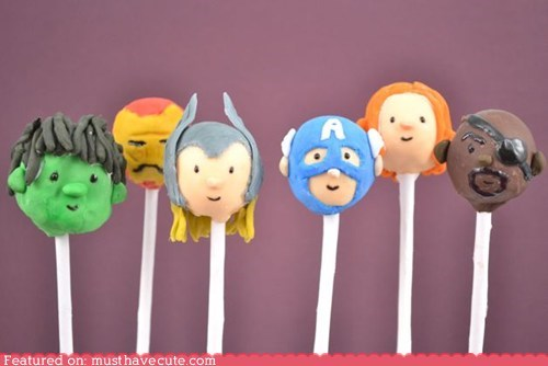avengers cake pops characters heads Movie superheroes