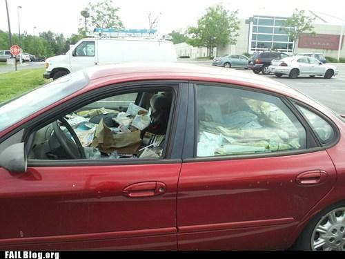 hoarder messy car trash - 6192252160