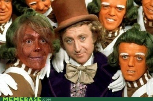 leathery,Memes,oompa loompa,orange,tan,wonka