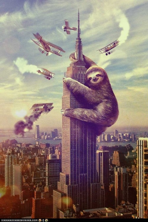 art,empire state building,illustrations,king kong,movie references,planes,sloth,sloths