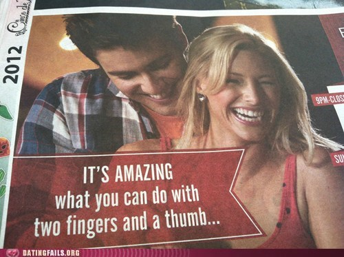 bowling,suggestive ads,thumbs,two fingers