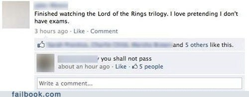 failbook gandalf g rated Lord of the Rings school you shall not pass - 6192609536