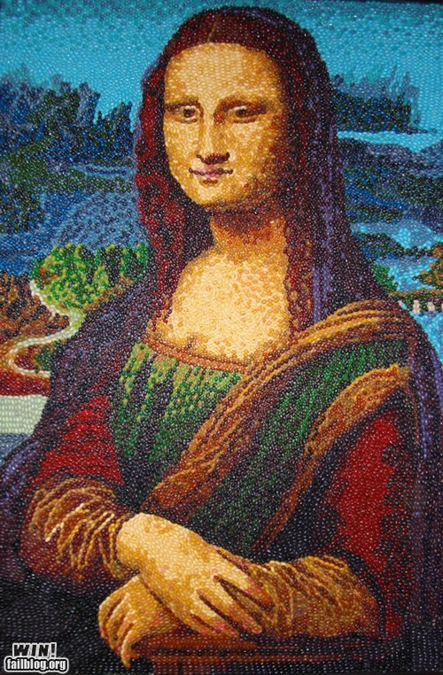 art,candy,food,jelly beans,mona lisa,portrait
