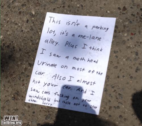 burn douchebag parkers note parking revenge - 6192821504
