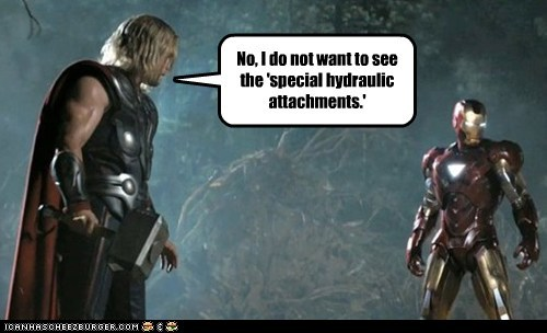 attatchment avengers chris hemsworth do not want hydraulic innuendo iron man special