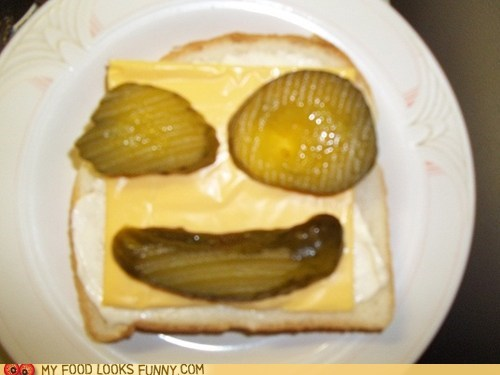 bread cheese face pickles sandwich - 6195651072